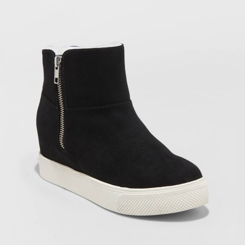 Women's Sheryl Microsuede Sherpa Lined Wedge Fashion Boots - Universal Thread™ - image 1 of 3