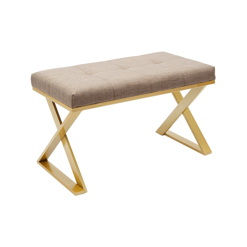 Tatum Gold X Base Vanity Bench Rectangular Gold - Silverwood