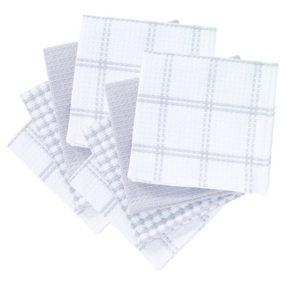 "8pk 12""x13"" Flat Waffle Kitchen Dish Cloth Gray - T-Fal"