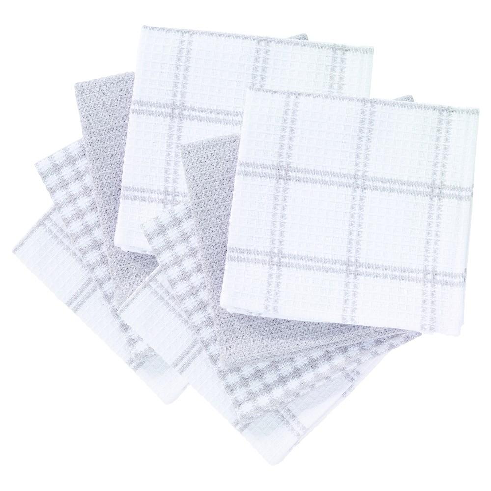 8pc Gray Flat Waffle Kitchen Dish Cloth 12x13 - T-Fal