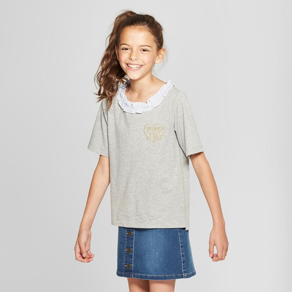 Girls' Harry Potter Ruffle Neck Short Sleeve T-Shirt - Gray L