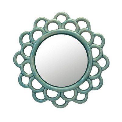 """9"""" Round Floral Cutout Ceramic Wall Hanging Mirror Turquoise - Stonebriar Collection"""