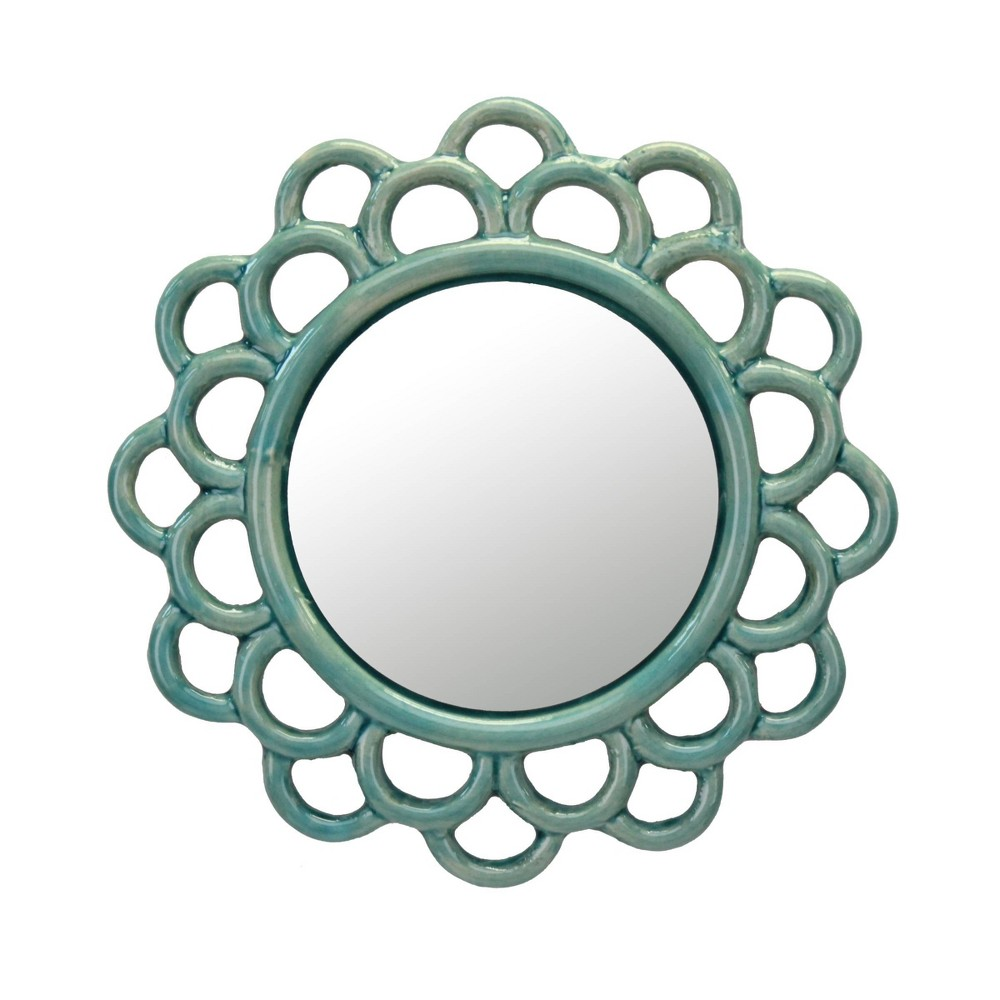 Image of Round Cutout Ceramic Decorative Wall Hanging Mirror Turquoise - Stonebriar Collection