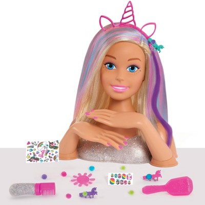 Barbie Deluxe 20pc Glitter and Go Styling Head, Blonde Hair