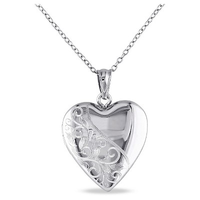 "Heart Locket Pendant Necklace in Sterling Silver (18"")"