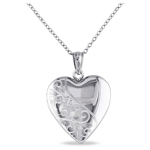 "Heart Locket Pendant Necklace in Sterling Silver (18"") - image 1 of 1"