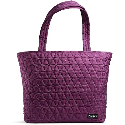 Fit & Fresh Metro Quilted Tote with Lunch Compartment - Plum
