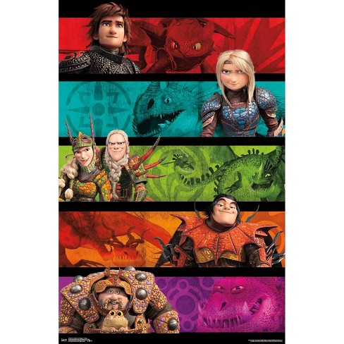 """34""""x23"""" How To Train Your Dragon 3 Group Unframed Wall Poster Print - Trends International - image 1 of 2"""