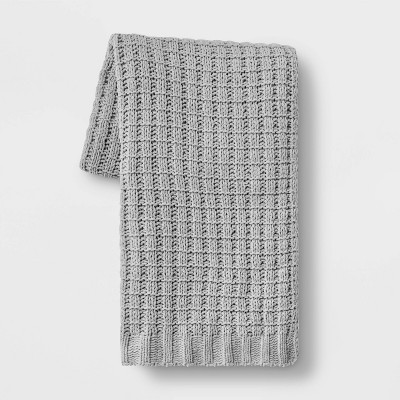 Solid Chenille Throw Blanket Gray - Threshold™
