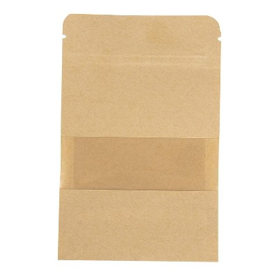 """50-Pack Kraft Reclosable Resealable Bag, 2.4-Oz Capacity, with Window, 4.7 x 7.8 """""""