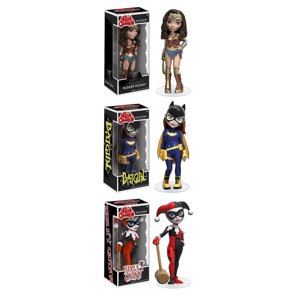 Funko Rock Candy Collectors Set; Batman vs. Superman Wonder Woman, Modern Batgirl, Classic Harley Quinn