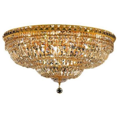Elegant Lighting 2528f30g Tranquil 18 Light Single Tier Flush Mount Crystal Chandelier Finished In Gold