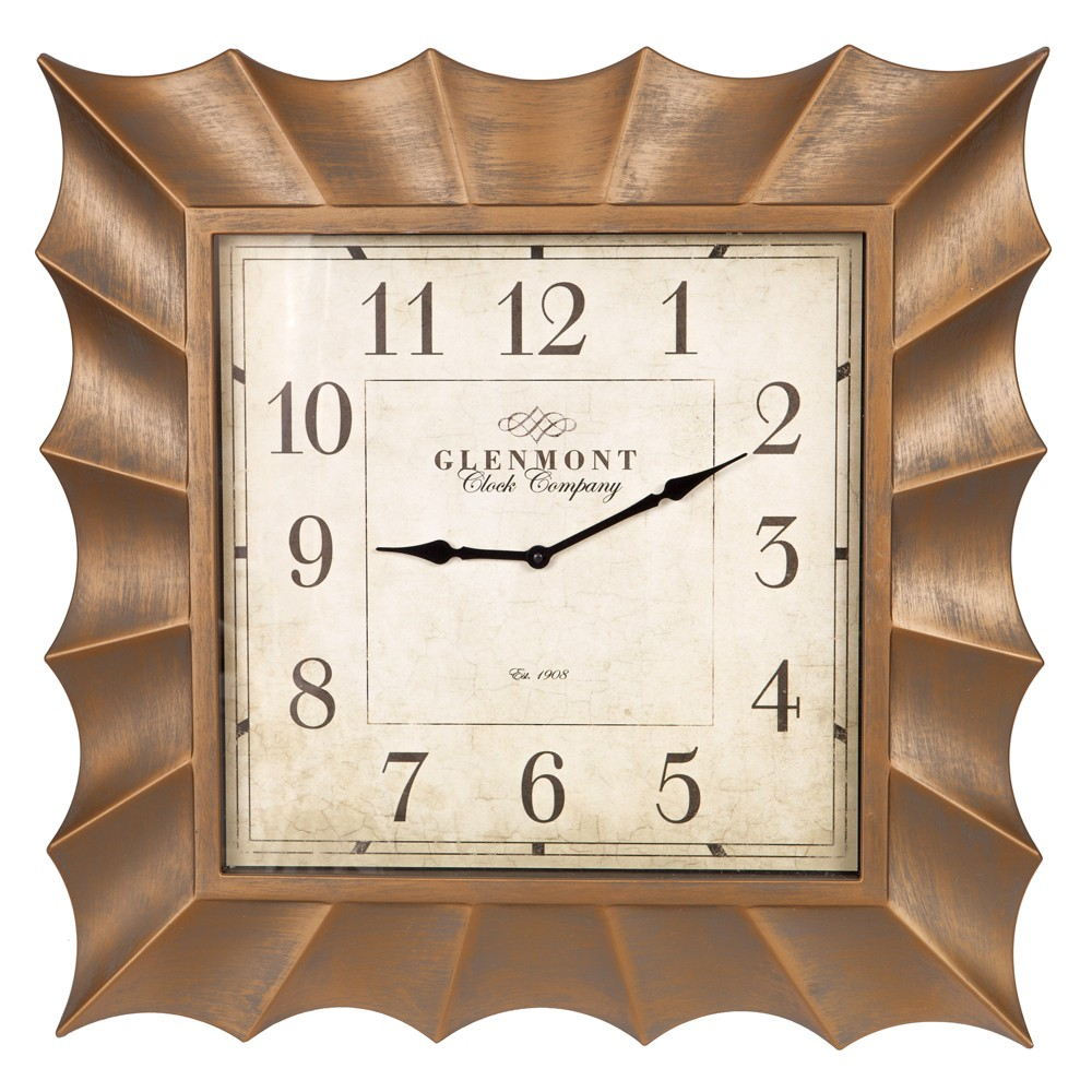 30 Scallop Framed Wall Clock Gold - Patton Wall Decor