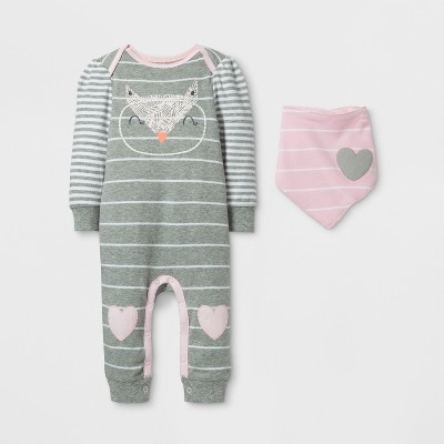 Baby Girls' 2pc Owl Coverall Set Cloud Island™ - Gray/Pink 24M