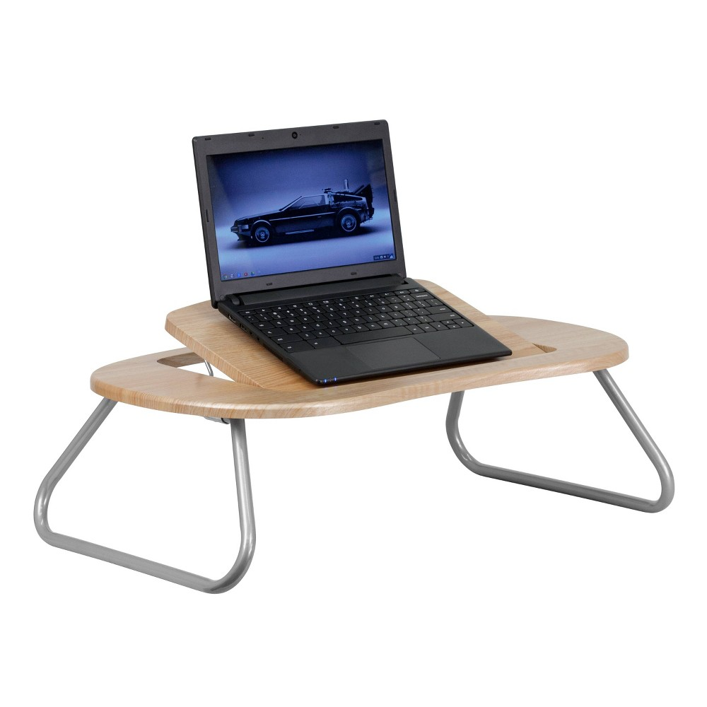 Image of Angle Adjustable Laptop Desk with Natural Top - Flash Furniture, Black