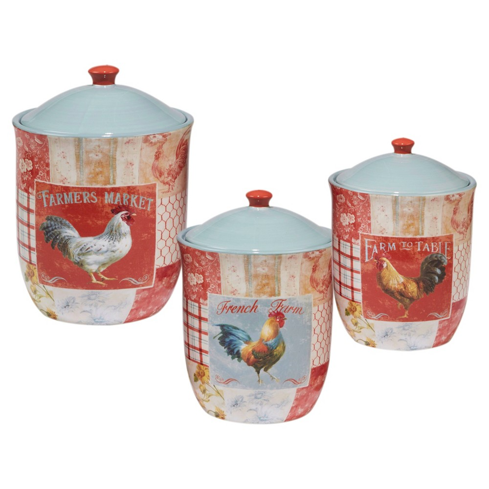 Certified International Farm House Rooster by Danhui Nai Ceramic 3pc Canister Set Red