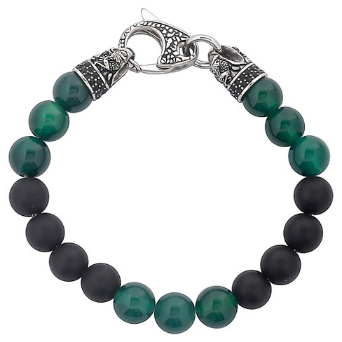 Men's Crucible Stainless Steel Dragon with Matte Black Onyx and Green Agate Beaded Bracelet - image 1 of 3