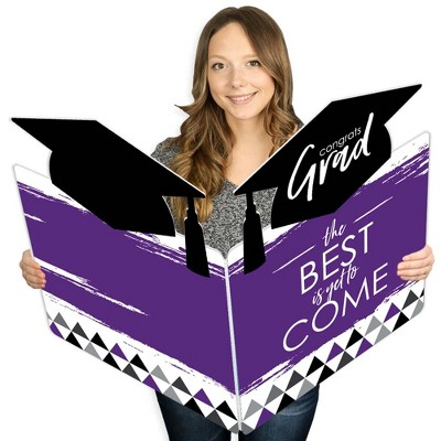 Big Dot of Happiness Purple Grad - Best is Yet to Come - Grad Congratulations Giant Greeting Card - Big Shaped Jumborific Card - 16.5 x 22 inches