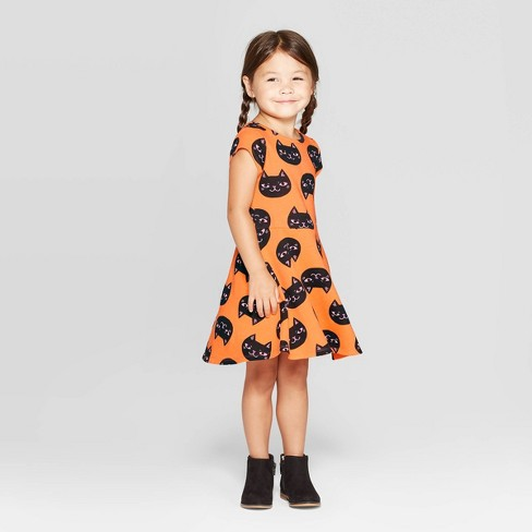 Toddler Girls' 'Cat' Halloween Dress - Cat & Jack™ Orange - image 1 of 3