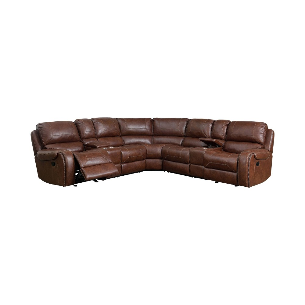 Image of Kaiden Upholstered Power Recliner Sectional Brown - ioHOMES