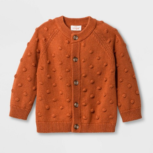 Baby Boys' Raglan Bobbles Cardigan Sweater - Cat & Jack™ Orange - image 1 of 1