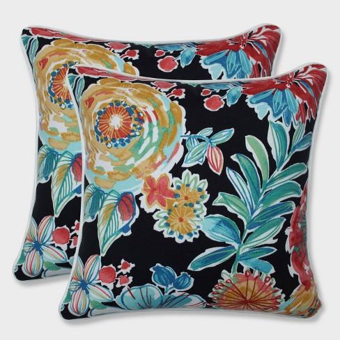 "16.5"" 2pk Colsen Noir Throw Pillows Black - Pillow Perfect - image 1 of 2"