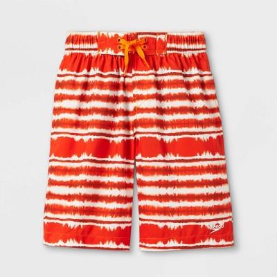 Speedo Boys' Tie-Dye Striped Swim Trunks - Orange