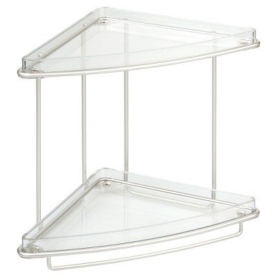 Free Standing Bathroom Vanity Corner Shelves Clear/Satin Nickel - iDESIGN