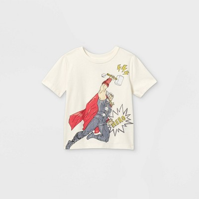Toddler Boys' Marvel Mighty Thor Short Sleeve Graphic T-Shirt - Off-White - Disney Store
