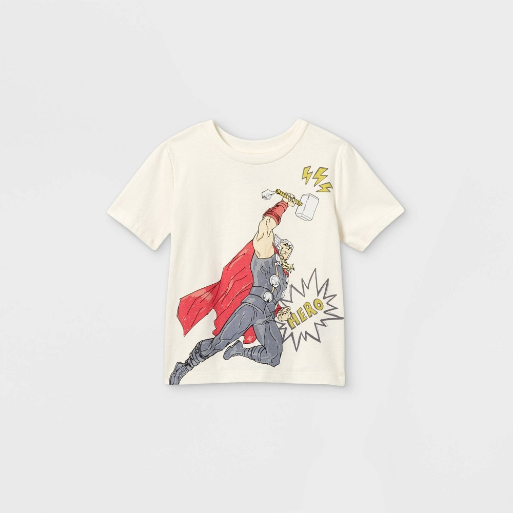 Toddler Boys 39 Marvel Mighty Thor Short Sleeve Graphic T Shirt Off White 3t Disney Store