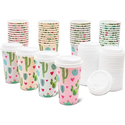 48-Pack Cactus Insulated Disposable Coffee Cups with Lids, 16oz Paper Hot Cup to Go for Baby Shower, Birthday, Bridal Party
