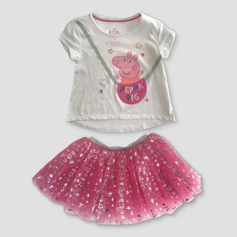 6eaba268d608d Toddler Girls' Peppa Pig Top And Bottom Set - White 3T : Target