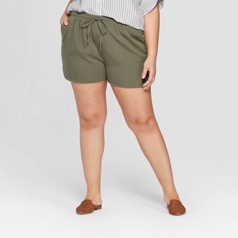 ee57971c9cb95 Women s Plus Size Mid-Rise Pull On Shorts - Universal Thread™ Olive 1X    Target