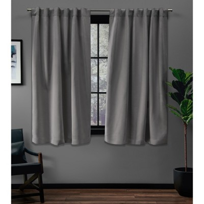 52 x84  Sateen Blackout Hidden Tab Window Curtain Panel Pair Silver - Exclusive Home