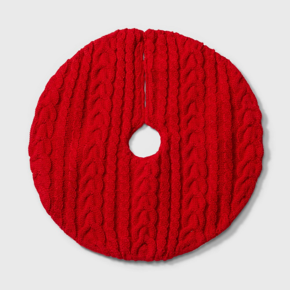 "Image of ""18"""" Mini Cable Knit Christmas Tree Skirt Red - Wondershop"""
