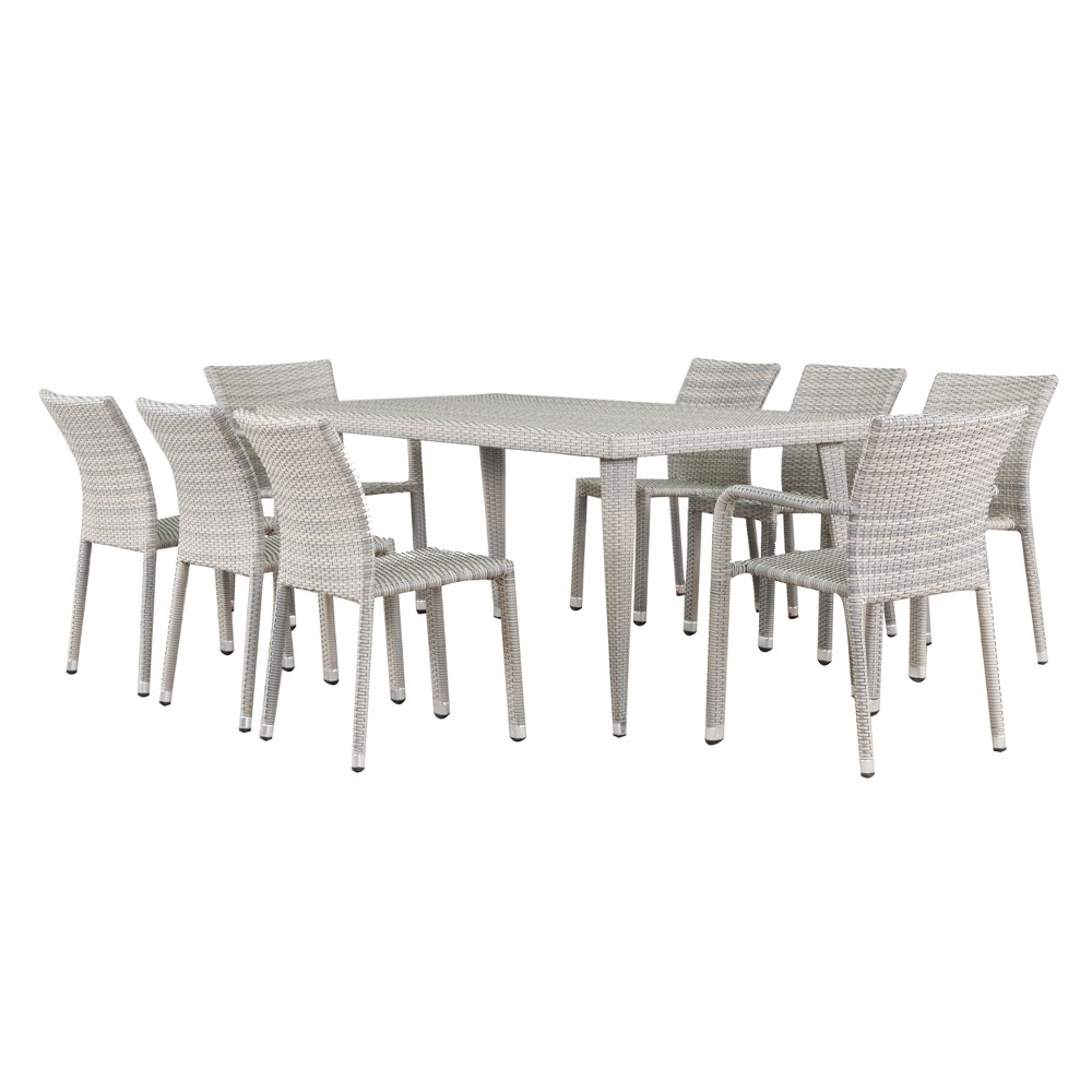 Dover 9pc Wicker Dining Set - Chateau Gray - Christopher Knight Home