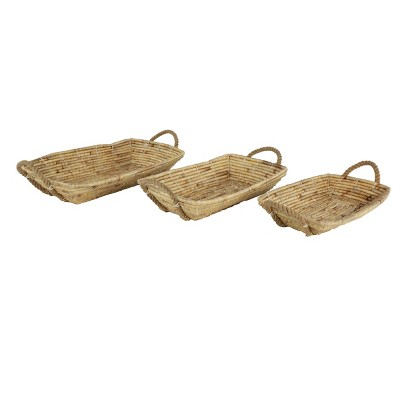 Set of 3 Water Hyacinth Wicker Trays White - Olivia & May