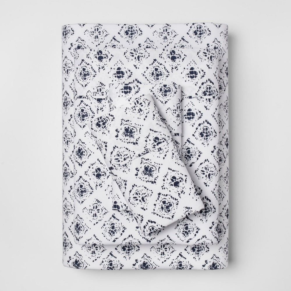 Organic Sheet Set (Queen) Navy (Blue) 300 Thread Count - Threshold