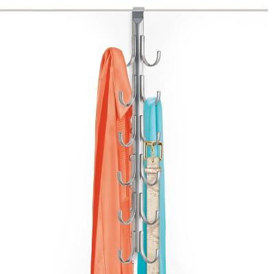 Lynk Over Door Accessory Hanger - Scarf, Belt, Hat, Jewelry Organizer - Vertical 12 Hook Rack - Platinum