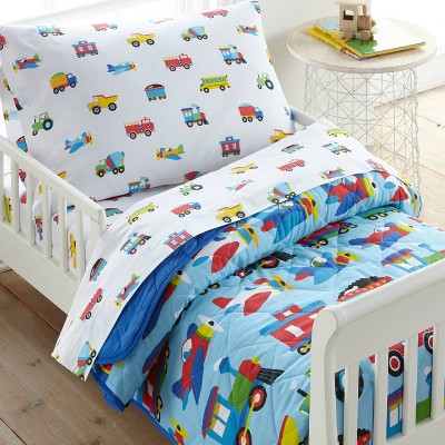4pc Toddler Trains with Planes and Trucks Cotton Bed in a Bag - WildKin
