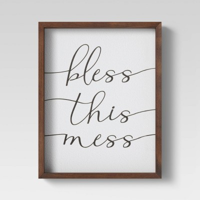 "11"" X 17"" ""Bless The Mess"" Framed Wall Canvas - Threshold™"