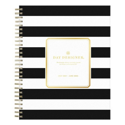 "2021-22 Academic Planner 8"" x 10"" Frosted Wirebound Daily/Monthly Rugby Stripe Black - Day Designer"