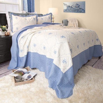 Brianna Embroidered Quilt Set (Full/Queen)Blue 3pc - Yorkshire Home