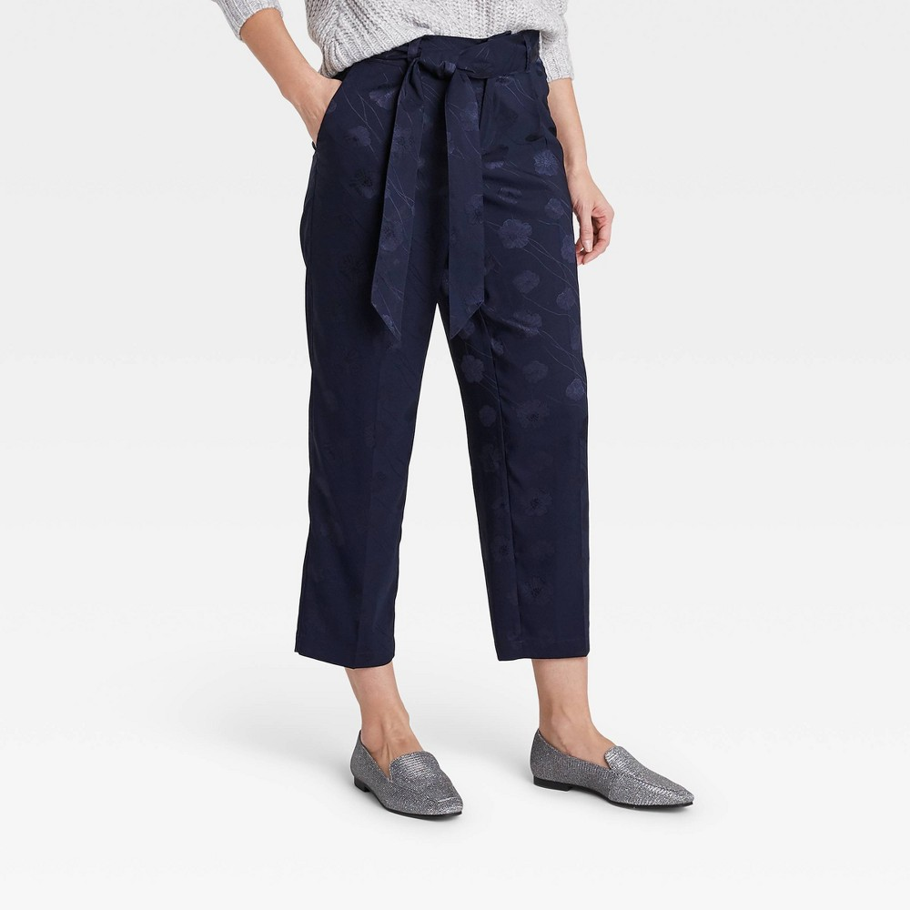 Women 39 S Jacquard Mid Rise Straight Leg Cropped Pants A New Day 8482 Navy 10