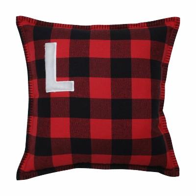 "17""x17"" Buffalo Plaid 'L' Throw Pillow Red/Black - Pillow Perfect"