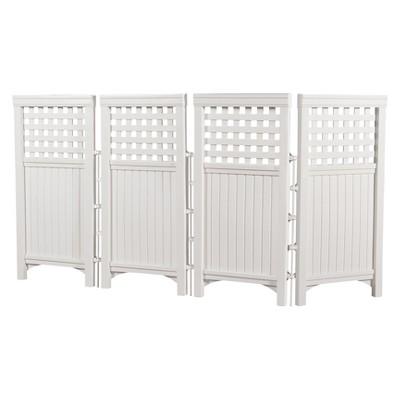 44  Resin Wicker Screen Enclosure - White