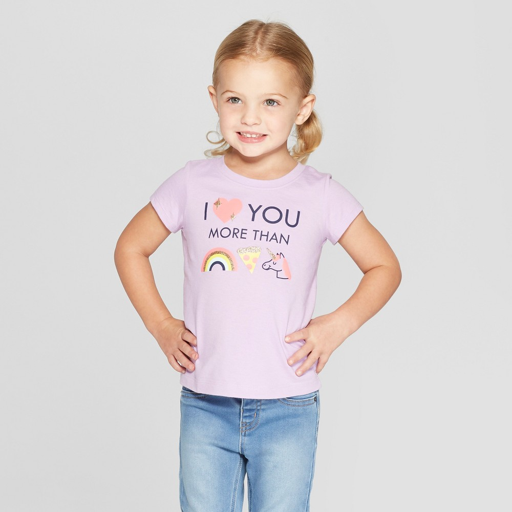 Toddler Girls' Short Sleeve 'I Love You More' Graphic T-Shirt - Cat & Jack Purple 18M