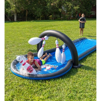 HearthSong Strike Zone 18 Foot Bowling Water Slide with Two Speed Boards for Outdoor Active Play