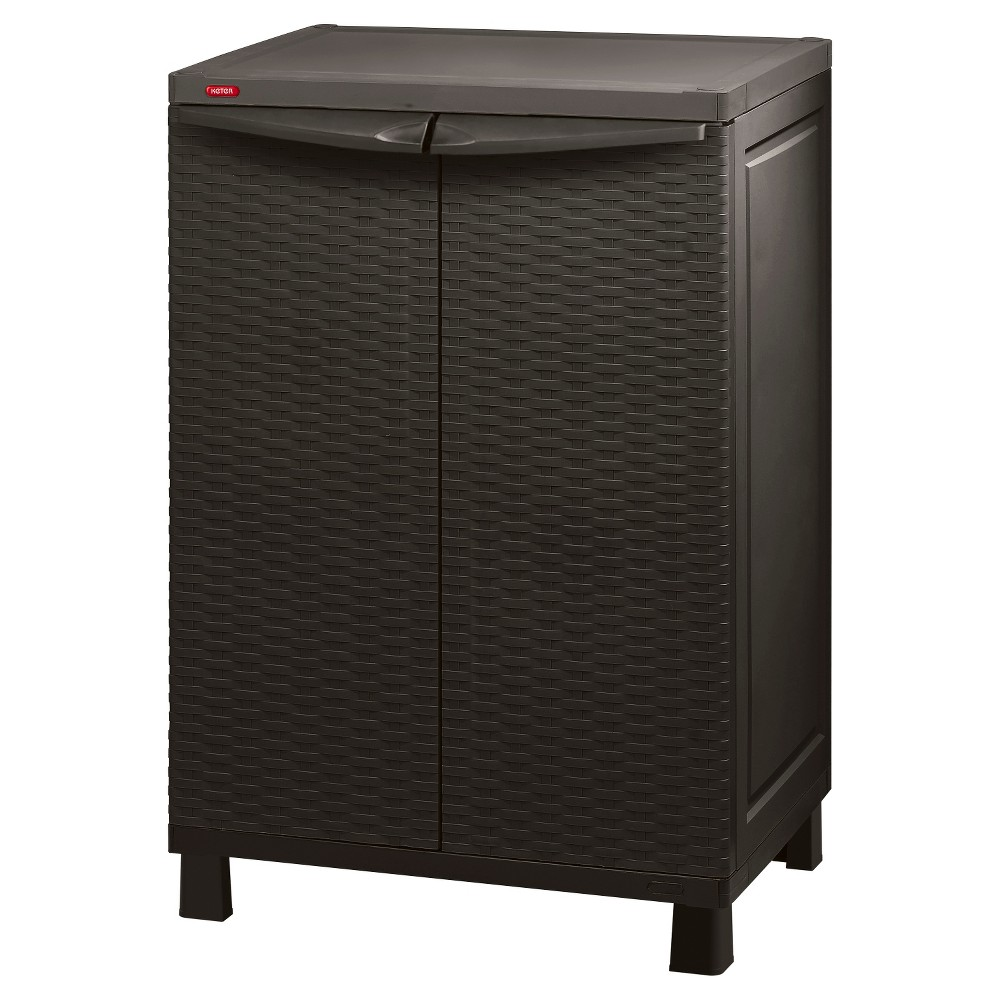 Image of Space Basic Base Rattan Utility Storage Cabinet - Brown - Keter