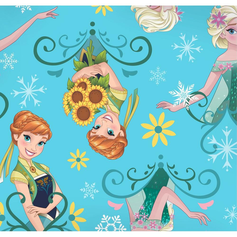 Disney Frozen Fever Sisters Sunflowers, Aqua (Blue), Fleece, 59/60 Width, Fabric by the Yard